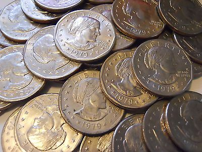 Lot of 20 Susan B Anthony Silver Dollars All 1979-D SBA $1 Coin Hoard!