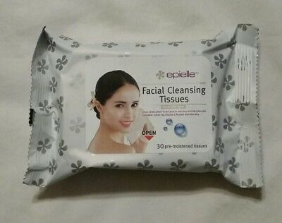 Epielle Facial Make-Up Remover Cleansing Tissues, 30 Pre-Moistened Wipes, NEW