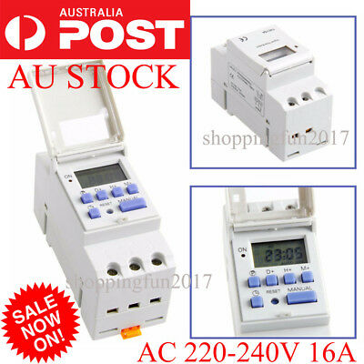 DIN Rail Digital LCD Power Programmable Timer Switch Relay AC 220-240V 16A Mind
