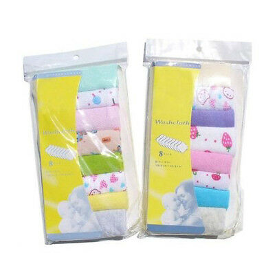 Baby Face Washers Hand Towels Cotton Wipe Wash Cloth 8pcs/Pack E4R5