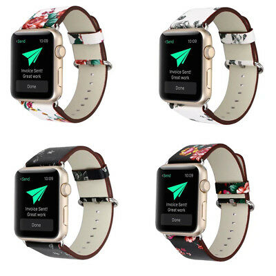 Retro Style Pattern Replacement Leather Band Strap For Watch1/2/3 Series 38/42mm
