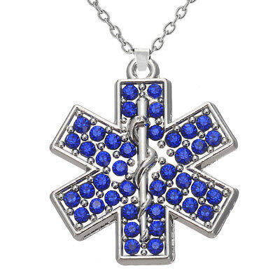 Crystal star of life paramedic emt ems medic medical wife necklace crystal emt emergency medical technician star of life pendant necklaces jewelry aloadofball Images