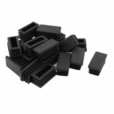 Embout Patin Pied de Meuble Rectangle Capuchon Tube Tuyau 40mm x 20mm 20pcs Noir