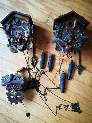 3 Antique Cuckoo Clocks For Repair Black Forest Fircone Weights Birds Etc