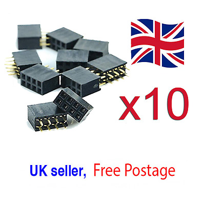 10PCS 2x4 8 Pin 2.54mm Double Row Female Straight Header Pitch Socket Pin Strip