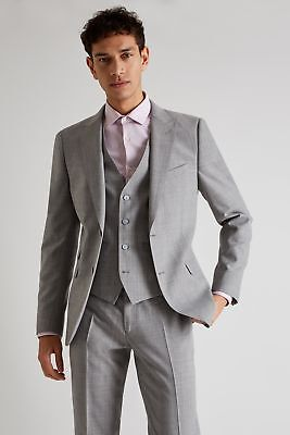 French Connection Mens Grey Marl Suit Jacket Slim Fit Single Breasted Blazer