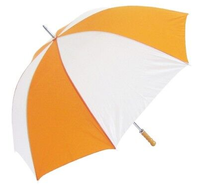 Golf Umbrella Windproof Spring & Double Ribs with Wooden Handle - Orange White