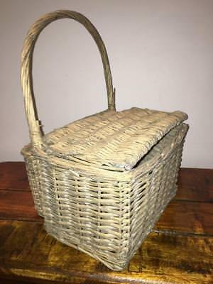 Wicker display picnic basket large oval handle rectangular hinged lid hamper