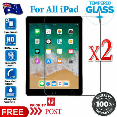 2X Tempered Glass Screen Protector for Apple iPad 5 6 Mini Air 1 2 10.5 2019 Pro