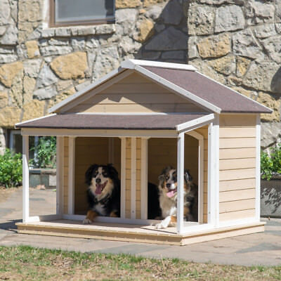 Large double dog house wood duplex outdoor house pet for Large double dog house