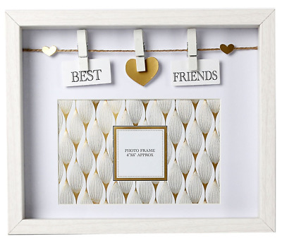 BEST FRIENDS WHITE Wooden Box Style Frame With Clothes Line Pegs 6 ...