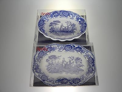 Spode Blue Room Set of 2 Different Trays Girl at Well NEW IN BOX