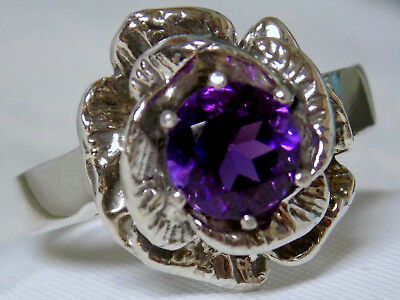 NATURAL  purple amethyst flower antique 925 sterling silver ring size 8 USA