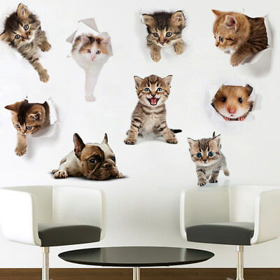3d Cat Hamster Dog Toilet Sticker Cute Wall Decal Decor For Bathroom Bedroom Us