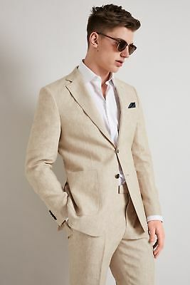 Hardy Amies Stone Linen Suit Jacket Tailored Fit Single Breasted Summer Blazer