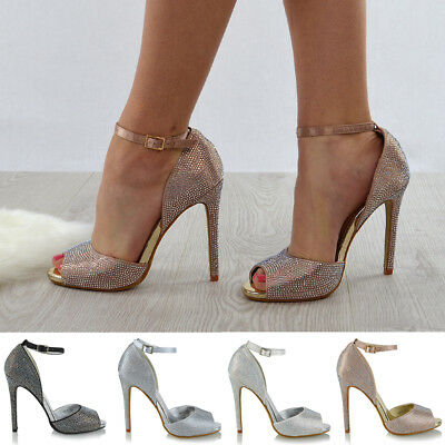 EURWomens Ankle Strap High Heel Diamante Wedding Shoes Ladies Peeptoe Party Prom