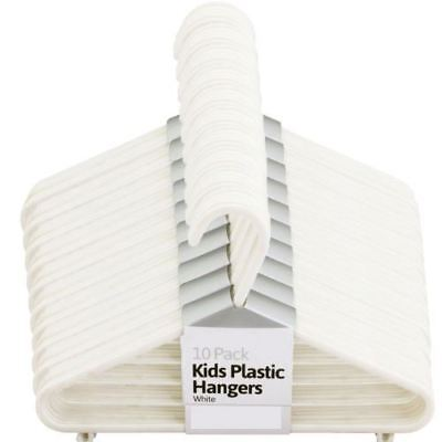 New 20Pcs Kids Plastic Hangers White Clothes Storage Shirts Trousers Home