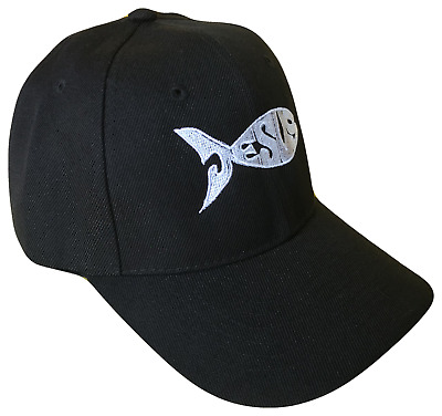 1456b24e92b Black Jesus Fish Adjustable Baseball Cap Hat Caps Hats God Christ White Text