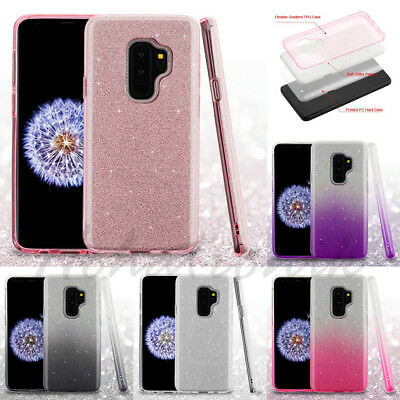 Samsung GALAXY S9 / Plus Hybrid Glitter Bling Rubber Protective Gel Case Cover