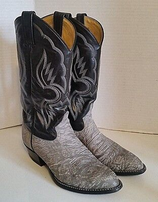 8eabcbce096 TONY LAMA ELEPHANT Leather Cowboy Boots 6253 Exotic Gray Black Mens Size  7.5 D