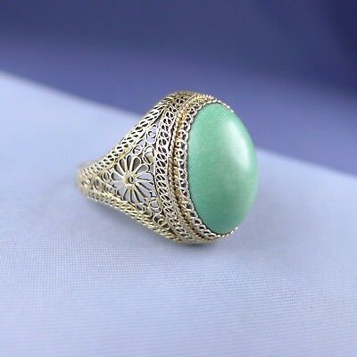 Antique Chinese Sterling Silver Green Turquoise Ring / Gilt Filigree Adjustable