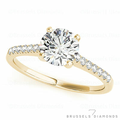 GIA 0.82 Ct DIAMOND Solitaire Engagement Ring Round F/SI1 14K Solid Yellow Gold