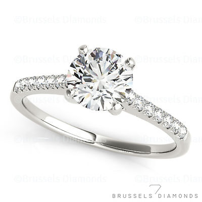 0.82 Ct H/SI2 Natural DIAMOND Solitaire Engagement Ring Round 14K White Gold