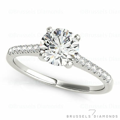 0.82 Ct G/SI2 Natural Round DIAMOND Solitaire Engagement Ring 14K White Gold
