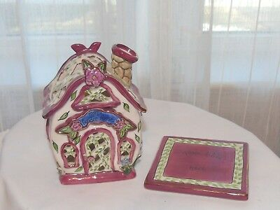 Blue Sky ClayWorks Heather Goldminc Tea Light Garden House 2004 Retired