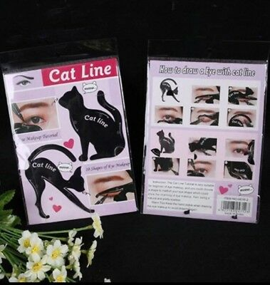 ***Cat Line Schablonen Eyeliner Schablonen Black Cat Catline Smoky Eye Neu Top**