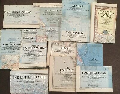 Lot of 31 1950 Vintage National Geographic maps - 6 continents