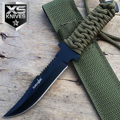 "7.5"" Black Tactical Military Bowie Fixed Blade Full Tang Outdoor Hunting Knife"