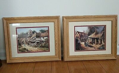 """Pair of matching print art wall hanging frames of old times, 17"""" x 14"""""""