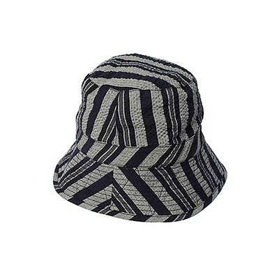 New $190 Mens Monitaly Navy Striped Seersucker Textured Bucket Hat Size S/m