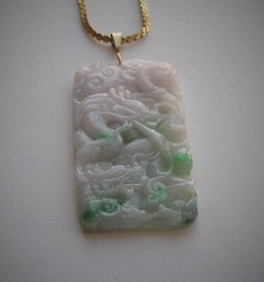 Vintage Fine Chinese Carved Dragon Green & White Jade Pendant, 25.5 Grams