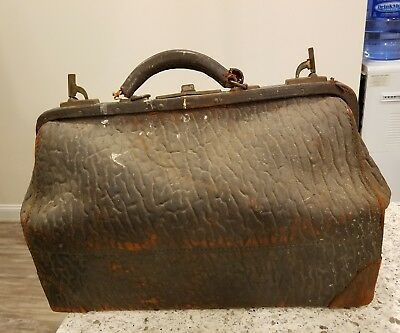 Antique Walrus Leather Gladstone Doctor's Bag  Ca. 1920s