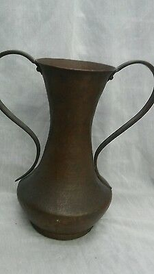 Nice  vintage Arts and Crafts 2 handles hammered copper vase