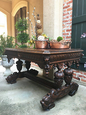 Antique French Victorian Carved Oak Dolphin Table Desk Renaissance Bureau Plat