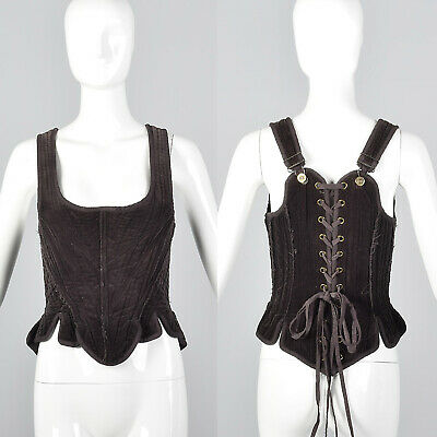 3f00ad0018 XS Gary Graham Brown Fashion Corset Top Cotton Separates Laced Back Boned  VTG