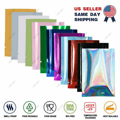 Variety of Colors & Sizes Flat Mylar Foil Heat-Sealable Open Top Pouch Bag M1