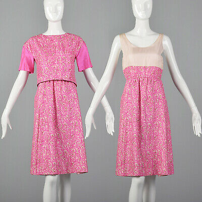 S 1960s Hot Pink Short Sleeve Dress Matching Set Abstract Print Midcentury 60s