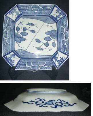 Old antique old with Imari dyeing corner cutting square plate large EMS F/S*