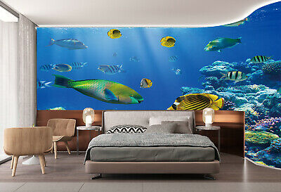3D Wallpaper Bedroom Mural Modern Undersea world Fishes TV Background Wall Decal