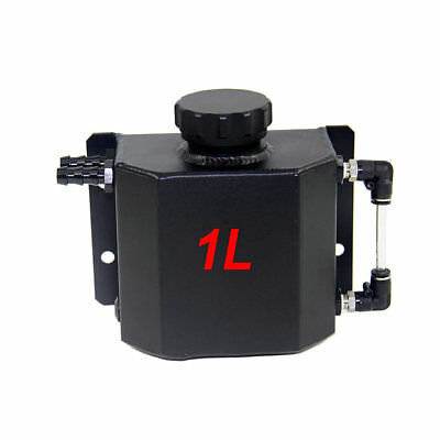 1L Coolant Radiator Overflow Recovery Water Tank/Can Black Aluminum