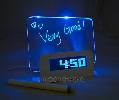 New Message Board Clock With Back LED Light Display Calendar, Time & Temperature