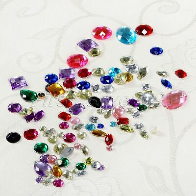 Hot 100pcs Acrylic Sewing Rhinestone Flatback Assorted Shape Sewing On Beads