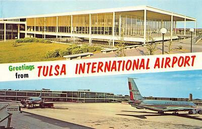 Tulsa City OK Wil International Airport American Prop Airplane Postcard