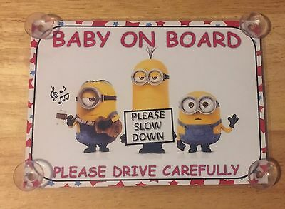 2 X Baby On Board Minion Laminated Car Signs