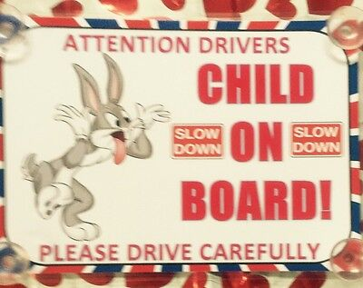 Bugs Bunny Child On Board Car Laminated Sign