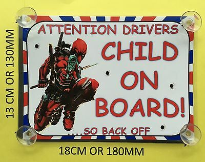 Superheroes Deadpool Child On Board Car Laminated Sign